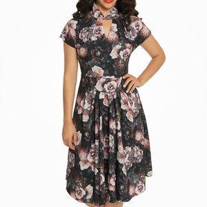 'Emma Lou' Dark Floral Print Swing Dress
